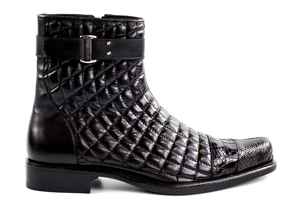 Belvedere (Libero - Black) Genuine Alligator and Soft Quilted Leather
