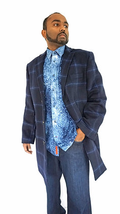 Enzo Blue Plaid Wool Carcoat for Men