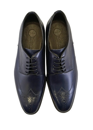 La Ferra Navy Blue Italian Wingtip Oxford Men's Shoe Front View