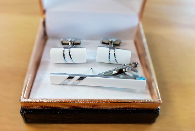 White cuff link with tie clip
