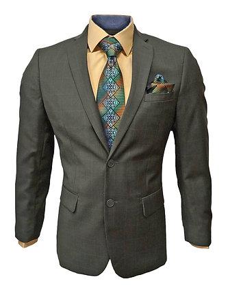 Fontini 100% Wool Slim Fit Olive Green Window Pane Suit