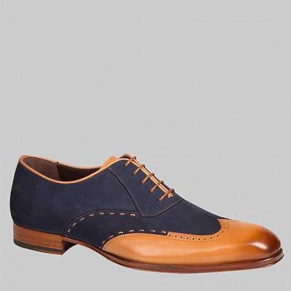 Mezlan (Paganini - Camel/Blue) Two Tone Wingtip Oxford Shoe