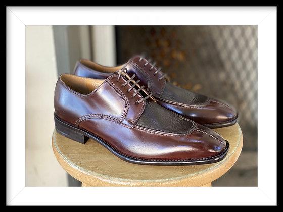 "Dark Brown Italian Calfskin Split Toe Oxford Shoe by Calzoleria Toscana ""3796"""