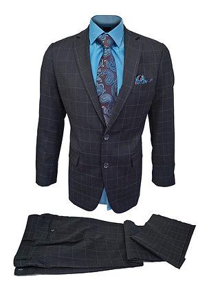 Vincenzi Black Windowpane Mens wool suit