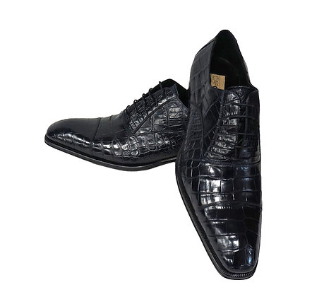 Caporicci (Navy Blue) Cap Toe, Baby Alligator, Italian shoe