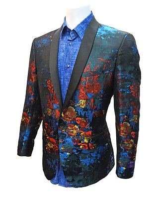 "Vinci Slim Fit one button mens Blazer jacket ""Multi"""