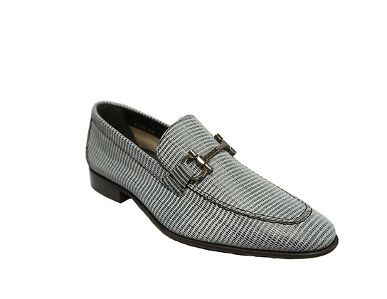 Corrente Black/gray Ebossed Bit Loafer