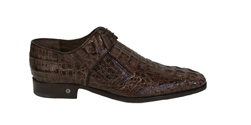 Lombardy Men's Brown Caiman Hornback Shoe
