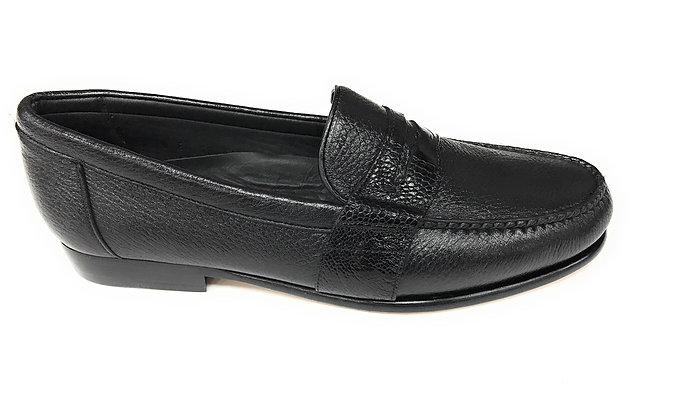 Belvedere Black ostrich loafer