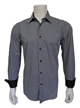"J Cado ""Navy"" Plaid Button Down Shirt"