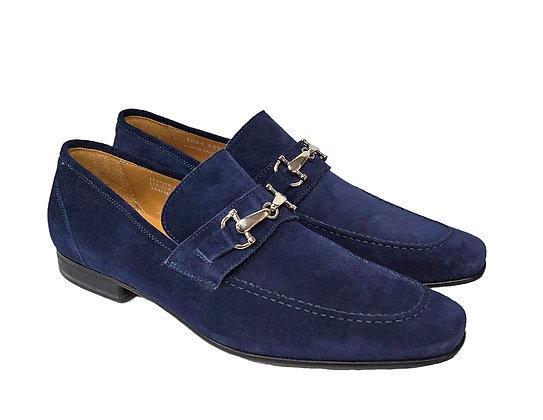 "Toscana (Trevento) ""Disk Blue"" Suede Italian Bit loafer"