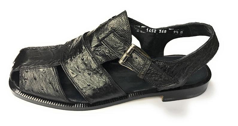 Mauri Black Ostrich Sandal
