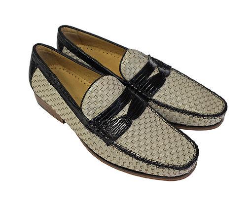 "Belvedere Bone with Black trim Basket Weave Shoe ""Franco"