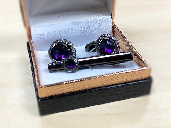 Venetto collection purple stone cuff link with tie clip