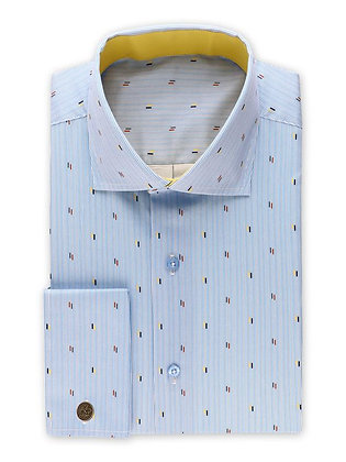 Steven Land (Blue) Nautical Specks stripe dress shirt