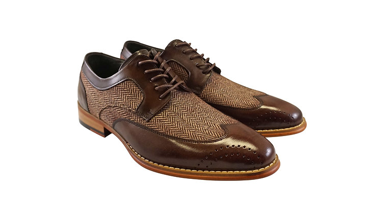 "Giovanni ""Ethan""  Brown Tweed and Leather wingtip oxford"