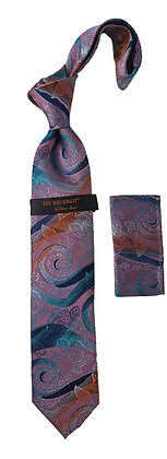 Steven Land Silk Tie and Hanky - Berry