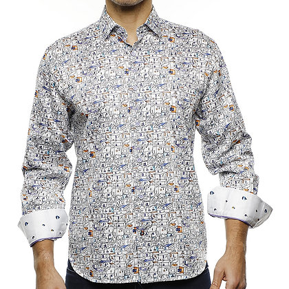 Luchiano Visconti Men's designer sports shirt white