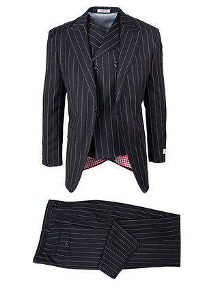 Tig lio Rosso  Wide Leg Black Bold Pinstripe mens Suit for sale