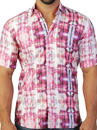 "Maceoo ""Galileo Dream Pink"" Short Sleeve, Tapered Shirt"