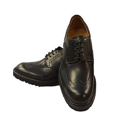 Carlos Santos Black Wingtip shoe, rugged Lug sole