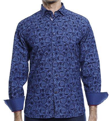 Luchiano Visconti (41105 - Blue)  Mens casual blue shirt with flocking