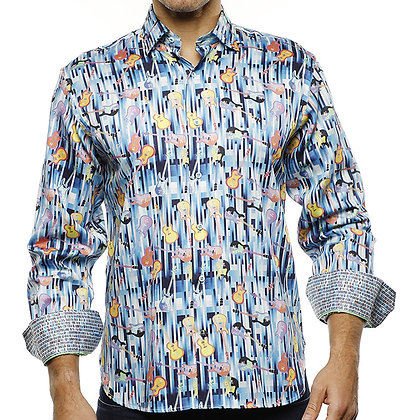 Luchiano Visconti Multi Blue Lines shirt with Multi Colored Guitars