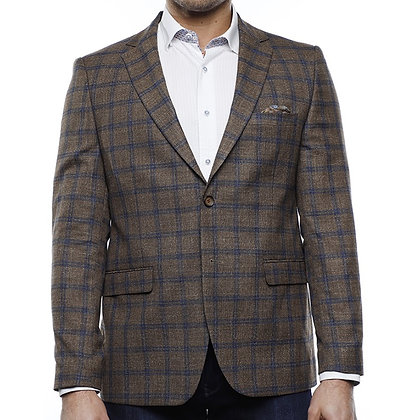 Luchiano Visconti Brown plaid blazer jacket