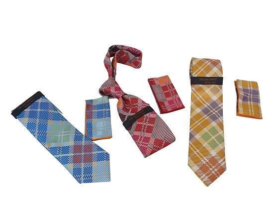 Steven Land (BW-218) Argyle Silk tie and Hanky Set