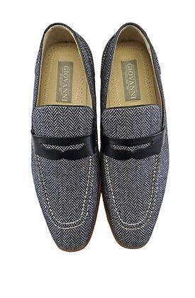 Giovanni Navy Blue Tweed Slip on Loafer shoes for men