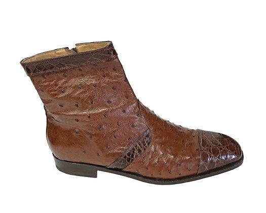 MAURI Brown Ostrich & Crocodile Boot