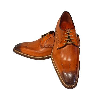 Jose Real Orange Italian Shoe, Hand Painted, Burnish Toe