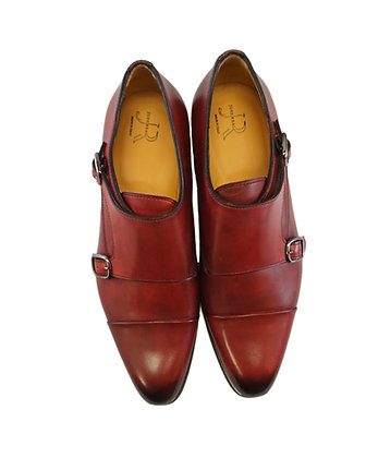 Jose Real Red Double Monk Cap Toe Men's Italian Shoe