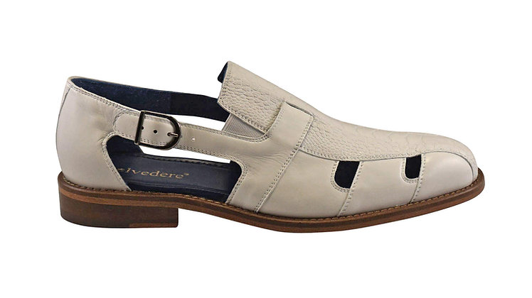 "Belvedere ""Connors"" White Ostrich Exotic Skin Sandal"