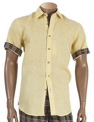 """Inserch """"Yellow"""" Linen Short Sleeve Shirt"""