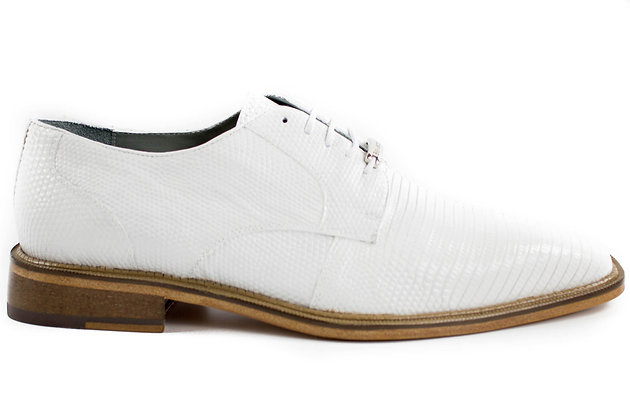 Belvedere (Olivo) Mens White Genuine Lizard Shoes