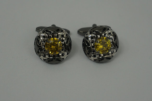 CHARLE'S WAIN Crystal Collection Cuff Link Gold