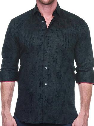 "Maceoo ""Fibonacci FlokDot Black"" Mens Button down, Tapered Shirt"