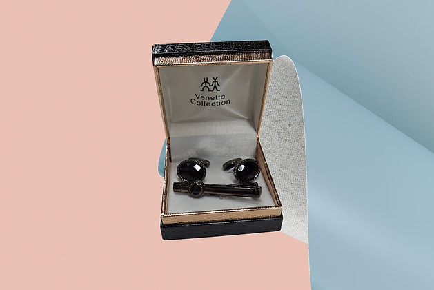 Venetto Collection Black Stone Two Piece Cuff Link Set