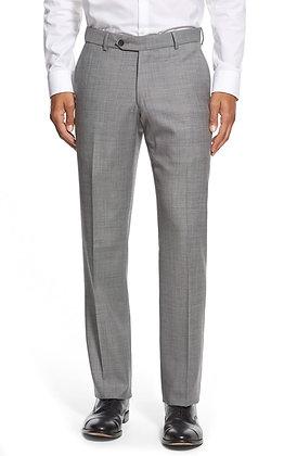 Ballin Light Gray Classic Fit Flat Front Sharkskin Wool Dress Pants