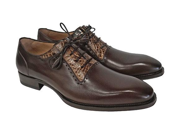 Mezlan (Olimpo - Brown/Camel)  Fashionable Plain Toe oxford with Alligator Trim