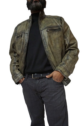 Missani Le Collezioni Olive Lambskin Leather Jacket (391394)