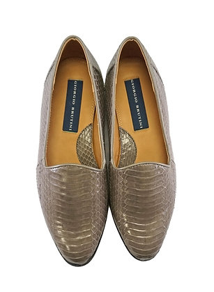 "Gray Genuine Snakeskin Slipon Loafer Shoes by Giorgio Brutini ""Faulkner"""