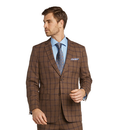 Bertolini Dark Sand Windowpane Silk and Wool modern fit mens Suit