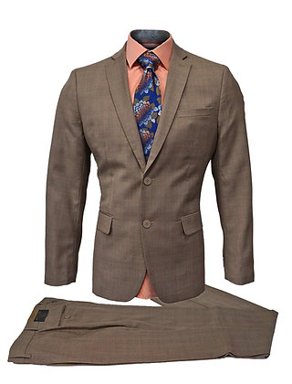 "Fontini ""Taupe"" Vigin Merino Wool Slim Fit Suit"