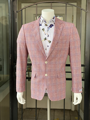 Red Cotton and Linen Modern Fit Blazer by Dolce Vita Fashions