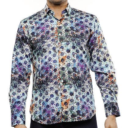 Luchiano Visconti Multi Blue Lines shirt with Multi Colored Guita