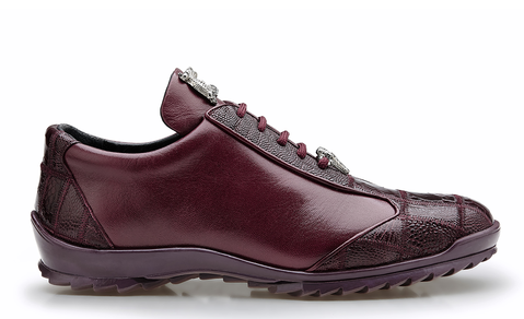 "Belvedere (""Paulo"") Burgundy Ostrich Sneaker style Shoes"
