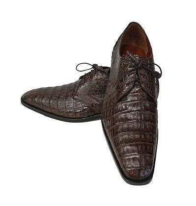 Los Altos Brown Caiman Belly Oxford Mens Dress Shoe