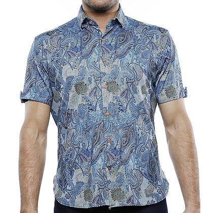 "Luchiano Visconti ""42121"" Blue Multi Short sleeve shirt"